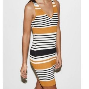 Kendall & Kylie Striped Ribbed Body Con Dress